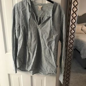 J. Crew striped blouse with neck tie